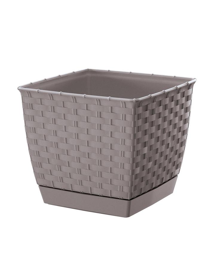blumentopf ratolla square mit untersetzer rattan optik 15 5 cm mocca 3 49. Black Bedroom Furniture Sets. Home Design Ideas