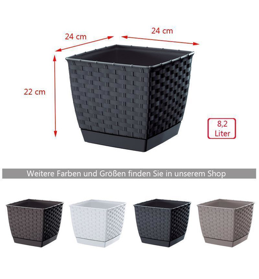 blumentopf ratolla square mit untersetzer rattan optik 24 cm braun g 7 99. Black Bedroom Furniture Sets. Home Design Ideas