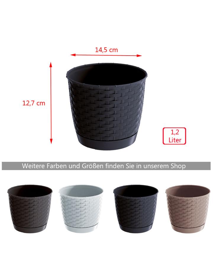 blumentopf ratolla rund mit untersetzer rattan optik 14 5 cm wei g n 2 39. Black Bedroom Furniture Sets. Home Design Ideas