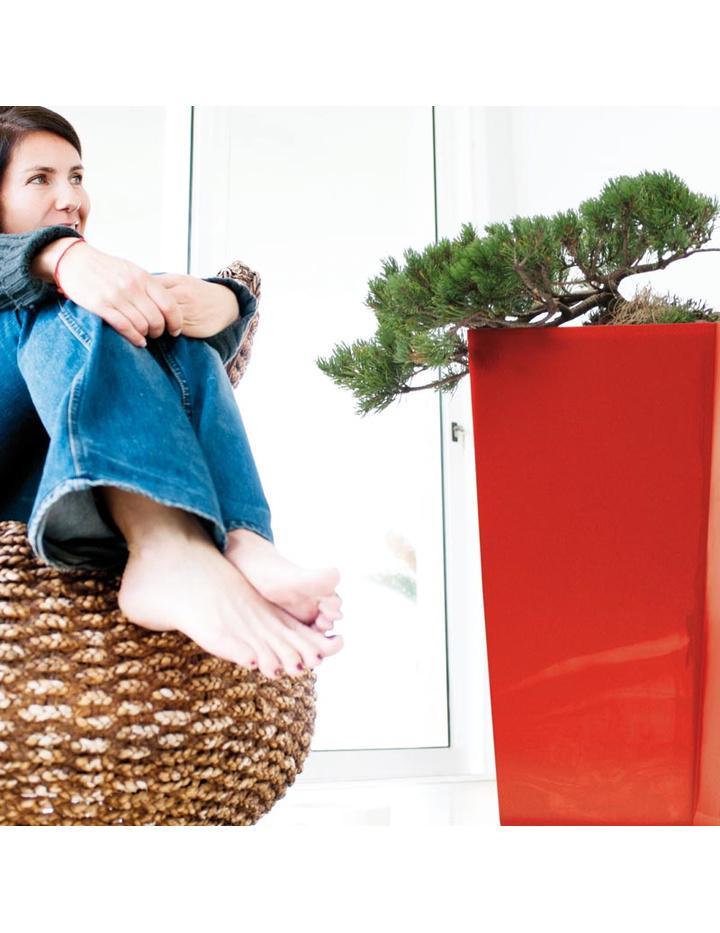 blumentopf viereckig urbi mit einsatz 17 cm 7 2 l hochglanz beige g n 7 25. Black Bedroom Furniture Sets. Home Design Ideas