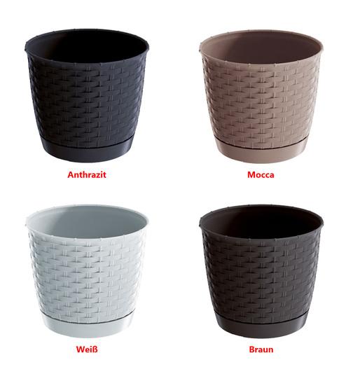 blumentopf ratolla square mit untersetzer rattan optik g nstig online 2 49. Black Bedroom Furniture Sets. Home Design Ideas
