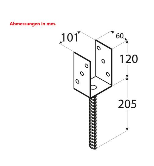 Bevorzugt Pfostenträger 101mm Pfostenanker Pfostenfuß Pfostenschuh OD27