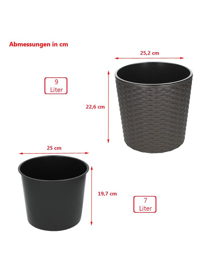 blumentopf mit einsatz rattanoptik blumenk bel pflanztopf bertopf pf 9 49. Black Bedroom Furniture Sets. Home Design Ideas