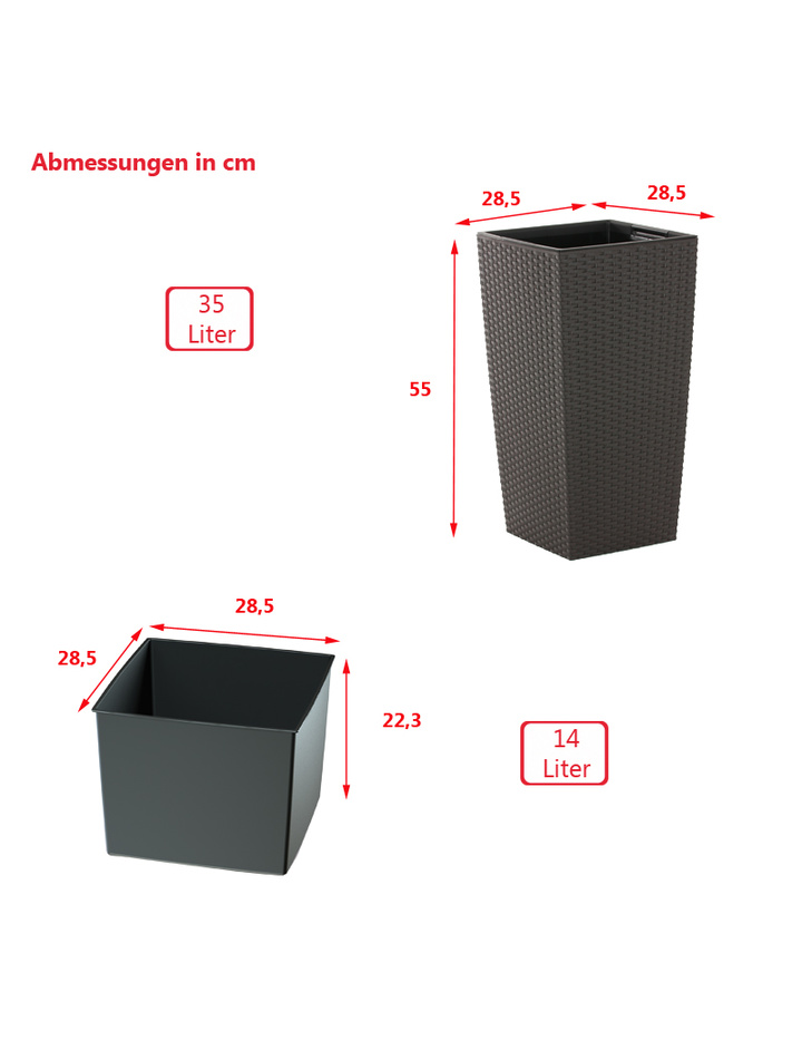 Blumentopf mit Einsatz Rattan Optik Pflanztopf Übertopf Pflanzkübel ...