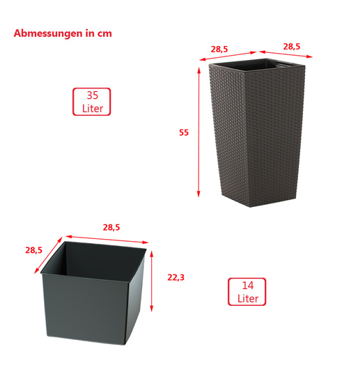 blumentopf mit einsatz rattan optik pflanztopf bertopf pflanzk bel b 17 13. Black Bedroom Furniture Sets. Home Design Ideas
